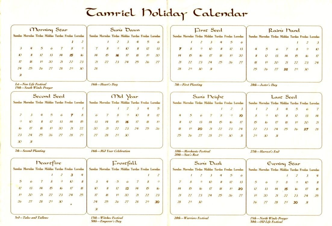 The not-so-Tamrielic calendar from the Arena manual; click to see full-size