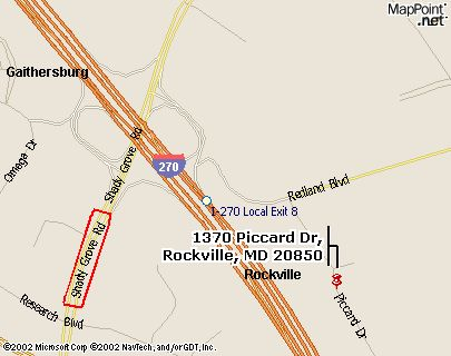 A map of northern Rockville, MD
